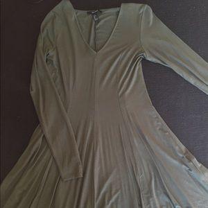 Olive green long sleeve skater dress